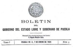 Boletín del Gobierno del Edo. de Puebla 1924