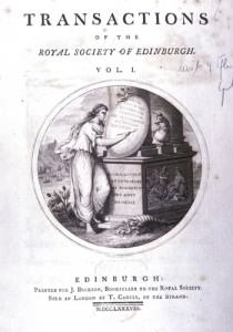 Portada de la publicación Transactions of the Royal Society of Edinburgh, en donde Hutton publicó Theory of the Earth; or an investigation of the laws observable in the composition, dissolution, and restoration of land upon the Globe (1788)