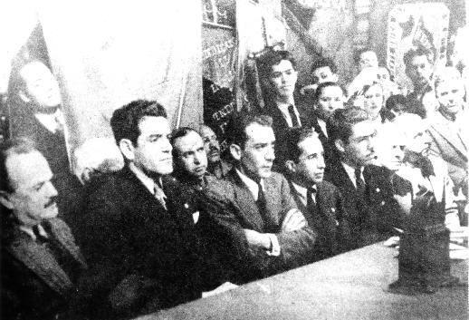 Francisco Mujica, Luis I. Rodríguez, Vicente Lombardo Toledano, Javier Icaza, Alejandro Carrillo. Febrero 8. 1936