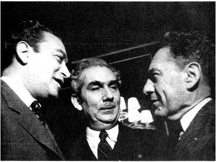 De izquierda a derecha, Vicente Lombardo Toledano, Juan Marinello y Martín Luis Guzmán.