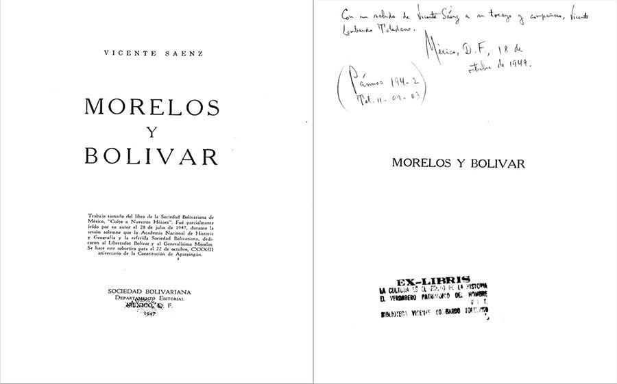 Sáenz Rojas, Vicente. Morelos y Bolívar México: Sociedad Bolivariana, 1947.