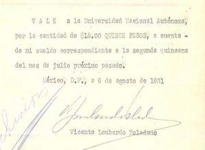 Vale firmado por VLT en su etapa como director de la Escuela Central de Artes Plásticas