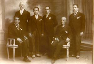 Vicente Lombardo Toledano con dirigentes de la CROM