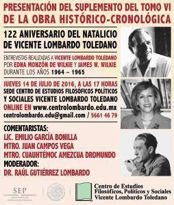 Presentación del libro con las entrevistas de los Wilkie al doctor Lombardo Toledano