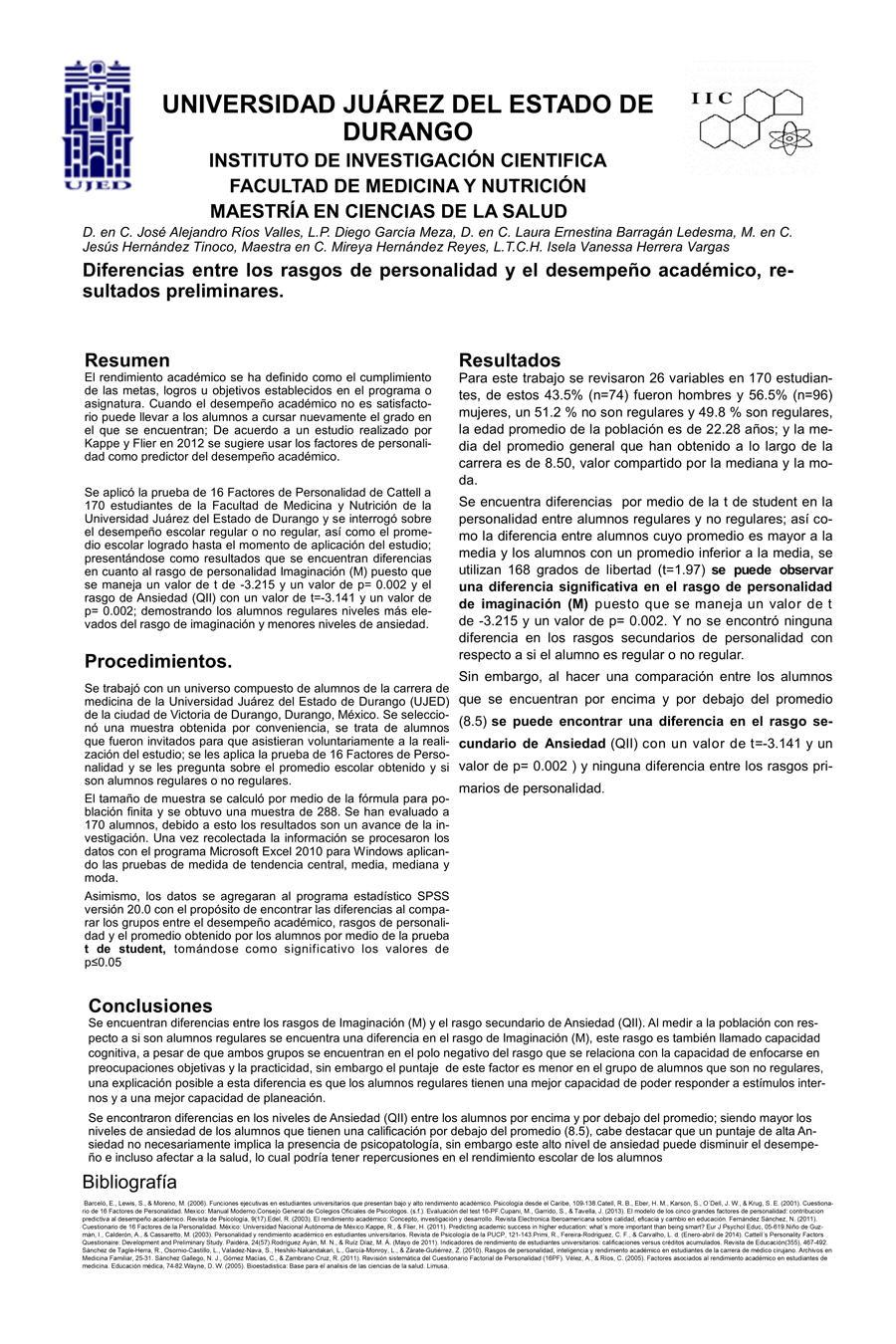 Portada Diferencias entre los rasgos de personalidad y el desempeño académico, resultados preliminares