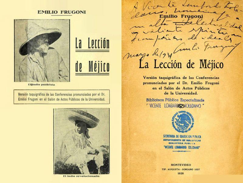 Portada del libro La lección de México con una dedicatoria de Emilio Frugoni