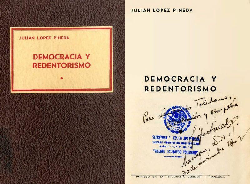 Portada del libro Democracia y redentorismo y una dedicatoria del autor Julián López Pineda