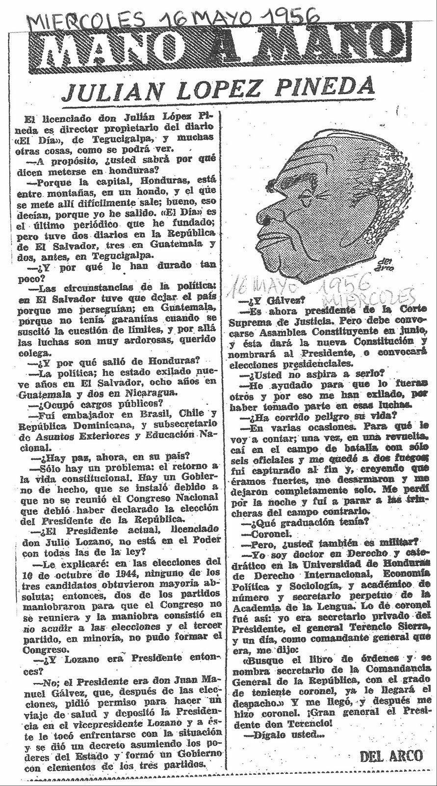 Artículo de Julián López Pineda para Mano a Mano realizada el miércoles 16 de mayo de 1956 y una caricatura de Pineda