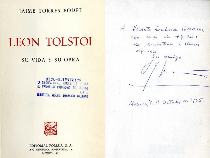 Carátula del libro Tolstoi: su vida y su obra. México: Porrúa, 1965. de Torres Bodet