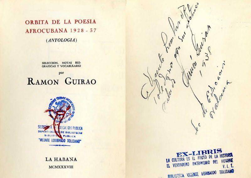 Carátula del libro Órbita de la poesía afrocubana, 1928-37 (Antología). La Habana: Ucar, García, 1938.