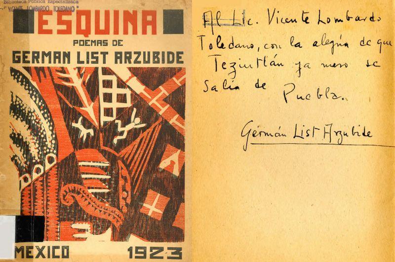 Portada del libro de List Arzubide, Germán. Esquina (poemas). México: Librería Cicerón, 1923.