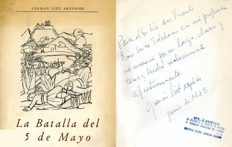 Portada del libro de List Arzubide, Germán. La batalla del 5 de mayo. México: Margen, 1962.