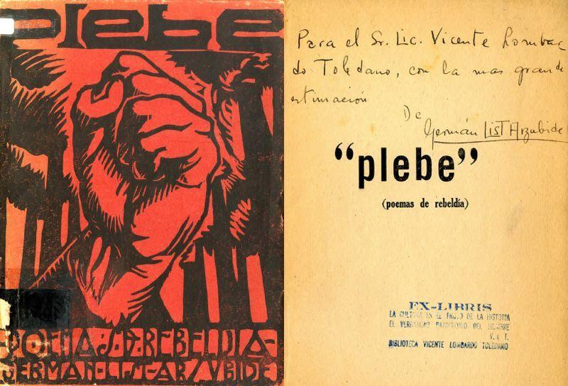 Portada del libro de List Arzubide, Germán. Plebe: poemas de rebeldía. Puebla: Germán List Arzubide, 1925.