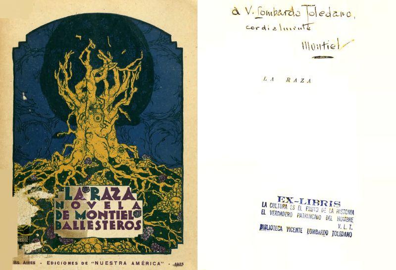 Portada de Montiel Ballesteros, Adolfo. La raza: novela. Buenos Aires: Nuestra América, 1925.