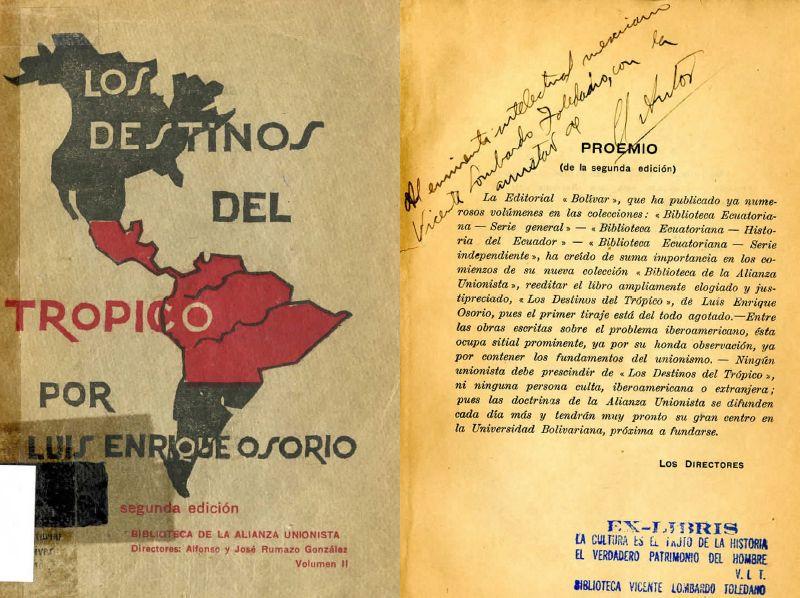 Carátula del libro Osorio, Luis Enrique. Los destinos del Trópico. Quito: Bolívar, 1933.