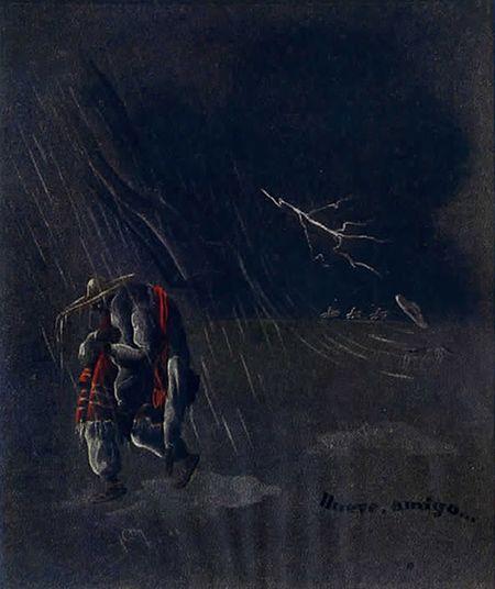 ilustración de llueve amigo de José María Benítez