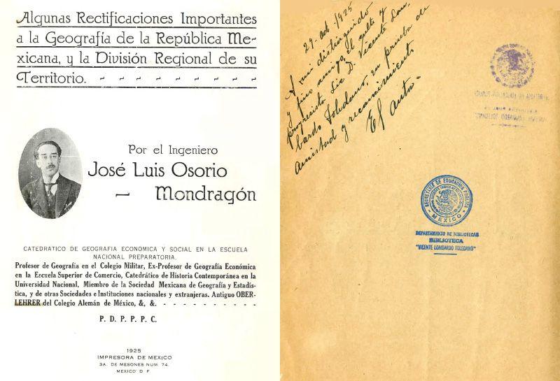 Portada del libro lgunas rectificaciones importantes a la geografía de la República Mexicana, y la división regional de su territorio