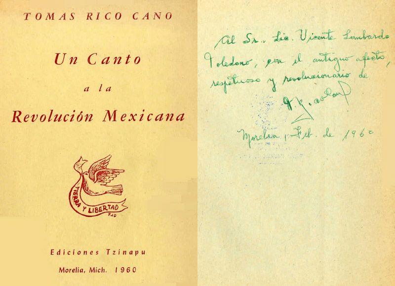 Portada del libro: Rico Cano, Tomás. Un canto a la Revolución Mexicana. Michoacán: Ediciones Tzinapu, 1960.