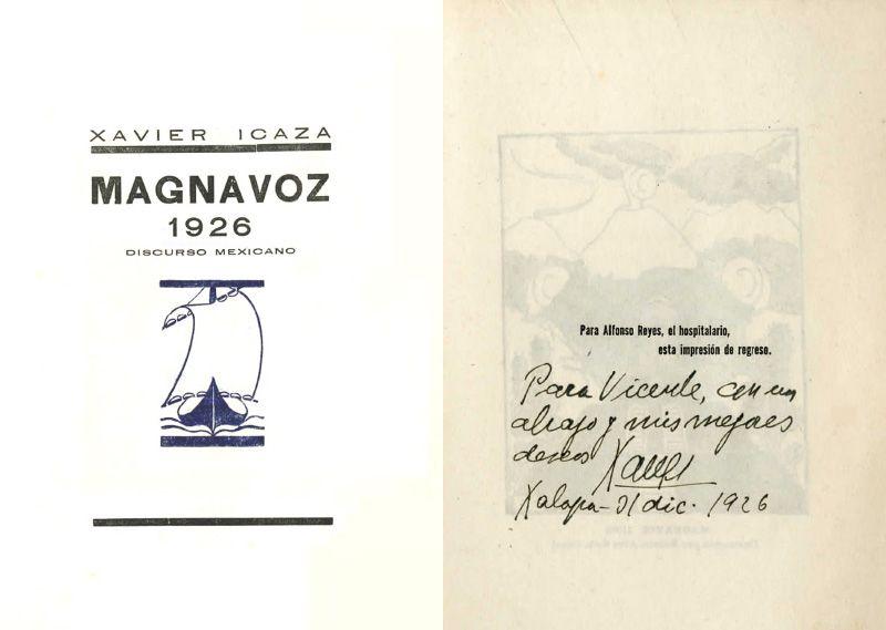 Portada del libro: Icaza, Xavier. Magnavoz 1926: discurso mexicano. Xalapa, Ver.: Talleres Gráficos del Gobierno de Veracruz, 1926.