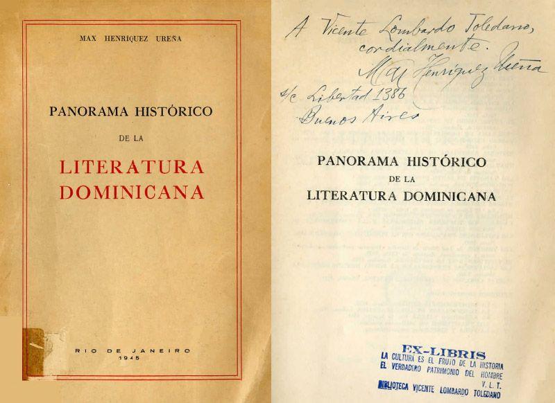 Portada del libro: Henríquez Ureña, Max. Panorama histórico de la literatura dominicana. Río de Janeiro: Companhia Brasileira de Artes Gráficas, 1945.
