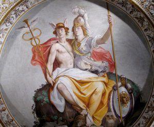 Pintura de El Hermatena, símbolo jánico de la unión de Hermes y Atenea