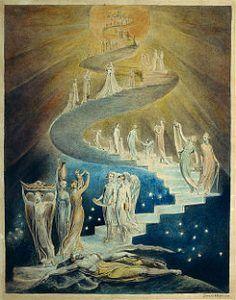 Pintura de Escalera de Jacob, por William Blake