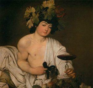 Pintura de Detalle de Bacchus (Dionisos), por Caravaggio