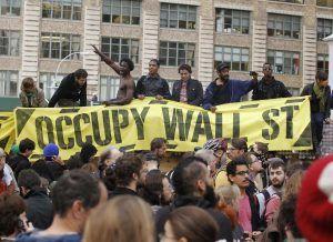 Fotografía de Manifestantes del movimiento Occupy Wall Street, en Nueva York