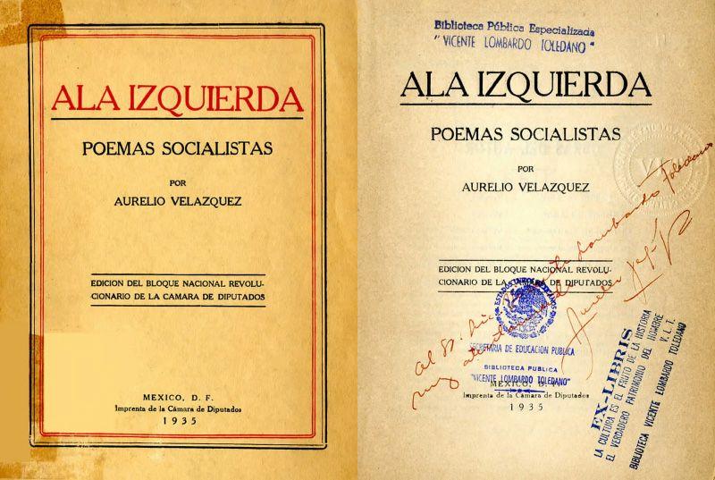 Portada y dedicacoria de Aurelio Velázquez en Ala izquierda