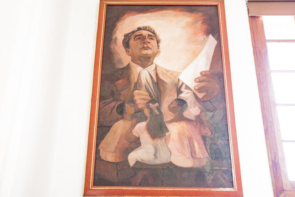Retrato de Vicente Lombardo pintado por Jesús Guerrero Galván