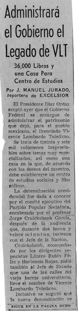 noticia de Vicente Lombardo