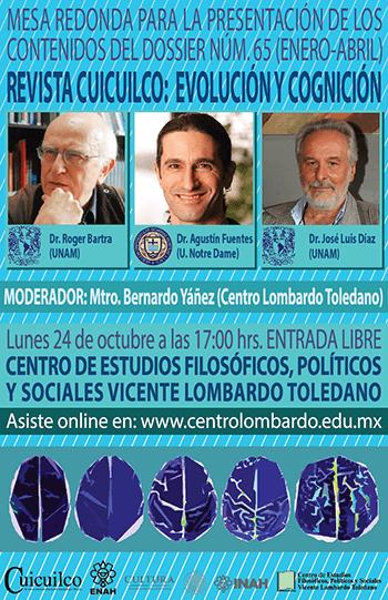 Portada del libro: Mesa redonda para la presentación del núm. 65 de la Revista Cuicuilco: Evolución y Cognición