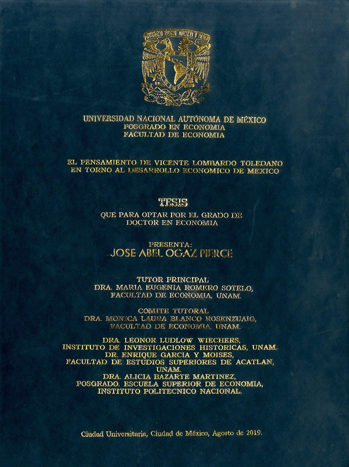 Portada del libro: EL PENSAMIENTO DE VICENTE LOMBARDO TOLEDANO EN TORNO AL DESARROLLO ECONÓMICO DE MÉXICO