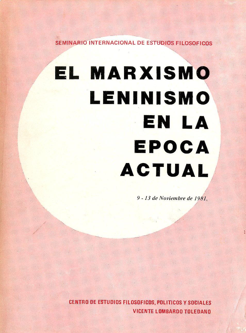 Portada del libro: EL MARXISMO LENINISMO EN LA ÉPOCA ACTUAL